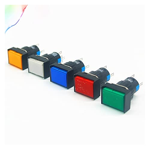 JSJJAWS Interruptor de botón Interruptores de botón de Bloqueo automático LA16J-11DZ Botón Rectangular con luz 5 Pines 16mm (Color : Red, Voltage : 12V)