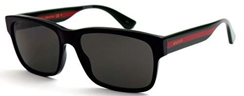 Gucci Unisex – Erwachsene GG0340S-007-58 Sonnenbrille, Glänzend Schwarz-Dunkel Grün, 58