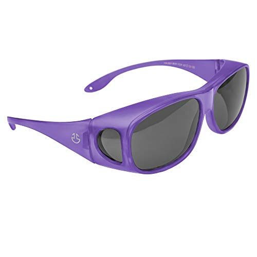 Over Glasses Sunglasses For Men and Sunglasses for Women, UV Protection Fit Over Sunglasses, Matte Wrap Around Sun Glasses with Polarized Smoked Lenses (Purple, Black - Polarized)