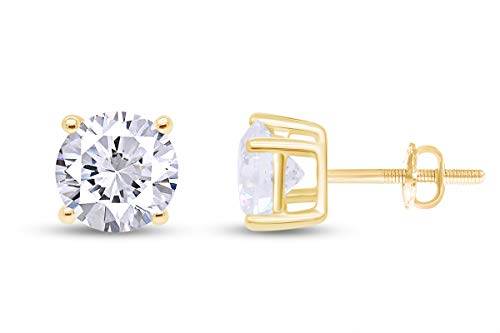 0.04CTTW Very VERY Small Studs Round Natural Diamond Stud (IGI Certified 0.70 ct & up) Plus Quality Screw Back Earrings in 14k Solid Yellow Gold, 0.04 Ctw - 2.00 Ctw