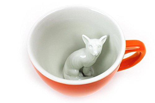 CREATURE CUPS Fox Ceramic Cup (11 Ounce, Red Orange) | Hidden Animal...
