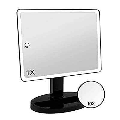 Large Lighted Vanity Makeup Mirror (X-Large Model), Funtouch Light Up Mirror with 35 LED Lights, Touch Screen and 10X Magnification Mirror, 360° Rotation Tabletop Cosmetic Mirror