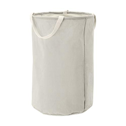 AmazonBasics – Canasto de tela, alto, redondo, gris claro