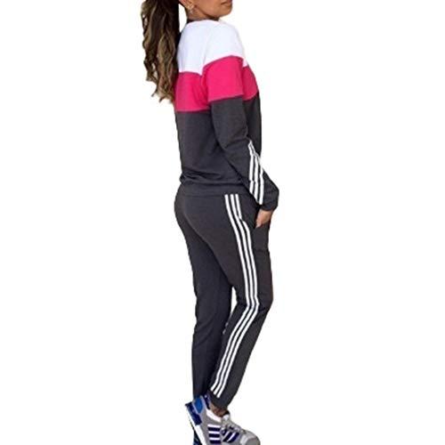 Juleya Frauen Sportswear Traingsanzug Jogginganzug Frauen 2 Teilig Freizeitanzug Kapuzenpullover Sweatshirt + Sporthosen Sport Casual Jogging Running