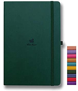 YRL Best Hardcover Notebook with Pen Holder A5 Writing Journal 5.7x8.3  College Ruled/Lined 192 Numbered Pages of Premium Thick Paper Fine PU Leather Sewn Bound Elastic Wrap Lays Flat Green