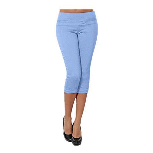 Dasongff Casual Capri Leggings voor dames, 3/4 casual sportbroek, bonte yoga, ondoorzichtige leggings in vele kleuren, maat S-3XL Small blauw