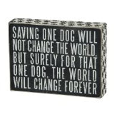 Saving One Dog Black Wooden Vintage Style Paw Print Box Sign