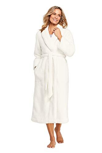 Lands' End Women's Sherpa Fleece Long Robe X-Small Ivory