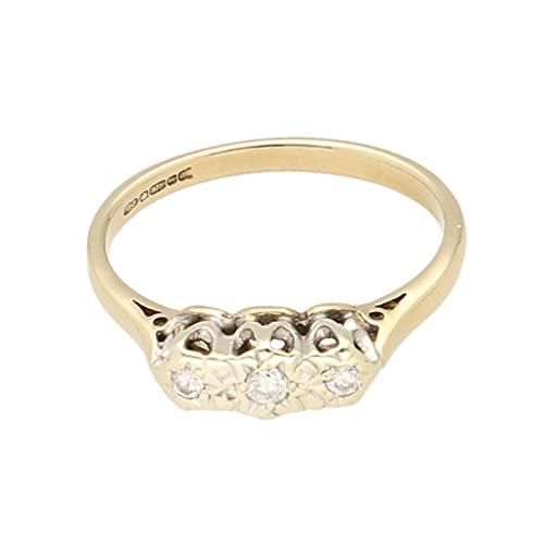 Anillo de oro amarillo de 9 quilates para mujer con diamantes de 0,08 quilates (tamaño O 1/2) 11 x 4 mm | Anillo de lujo para mujer