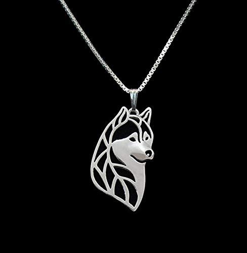 Silber 1 Stücke Siberian Husky Kopf Halskette 3D Ausgeschnitten Hündchen Liebhaber Anhänger Memorial Halsketten Anhänger Weihnachtsgeschenk
