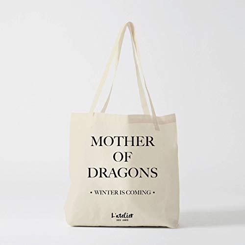 Bolso de la niña con dragón la niña con el dragón juego de tronos bolsa de algodón bolso de la bolsa Khaleesi Dragon madre de dragones
