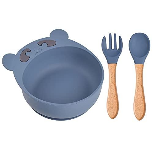 MaoLi Vajilla de silicona para niños, juego de cuchara y tenedor, chupón de oso de dibujos animados, vajillas complementarias a prueba de caídas (color: Y10, tamaño: pequeño)