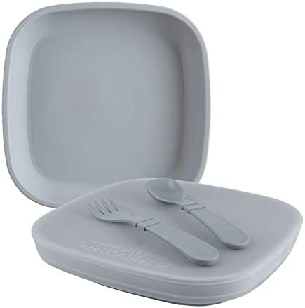 RE PLAY Made in USA 5 Piece Toddler Feeding Set Flat Plate Silicone Storage Lid Utensils Made product image