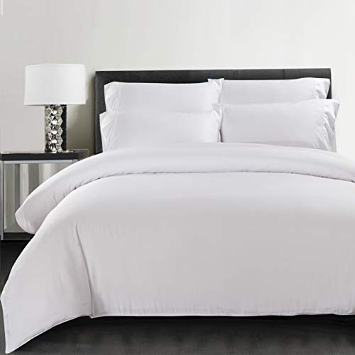 100% Bamboo Organic Bedding - Double Duvet Cover - White with Satin Weave - Hypoallergenic Anti Allergy