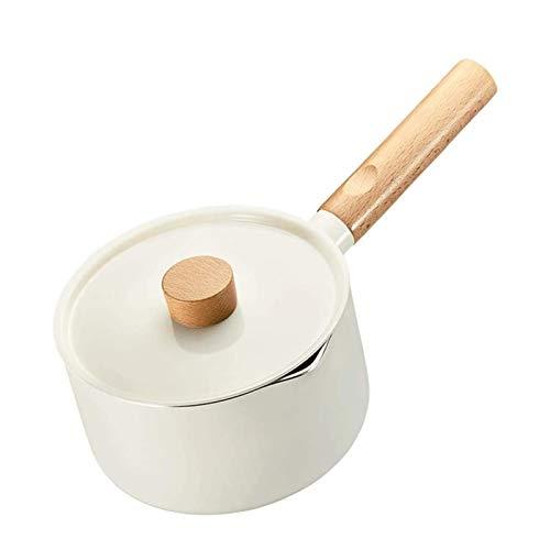 UNU_YAN Moderne Einfachheit Nichtstick-Topf mit Deckel, Holzgriff Kleintopf, Milchpfanne, Edelstahl, weiß