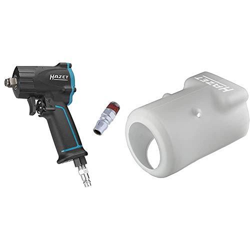 HAZET Druckluft-Schlagschrauber (extra kurz (92 mm) I max. Lösemoment 1100Nm, Vierkant 12,5 mm (1/2 Zoll)) & Silikon-Schutzhülle (für HAZET Druckluft-Schlagschrauber 9012M und 9011M)