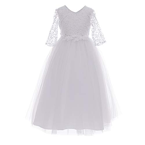 Girl First Communion Dress Pageant Party Prom Formal Ball Gown Princess Puffy Tulle Dresses (White, 12)