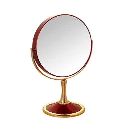 Miroir cosmétique de miroir en métal Strass de Bureau Miroir de vanité grossissant HD à Rotation complète 5X Portable Pour soins de la peau cosmétiques Rasage et Voyages (Couleur: Rouge, Tai