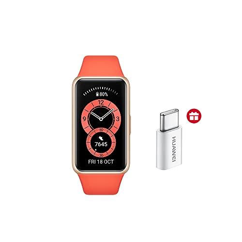 Huawei Band 6 Smart Watch + adattatore di tipo C, tracking del Rythme Cardiaco, SpO2 e del sonno, 96 modalità di allenamento, autonomia di 2 settimane, colore: arancione
