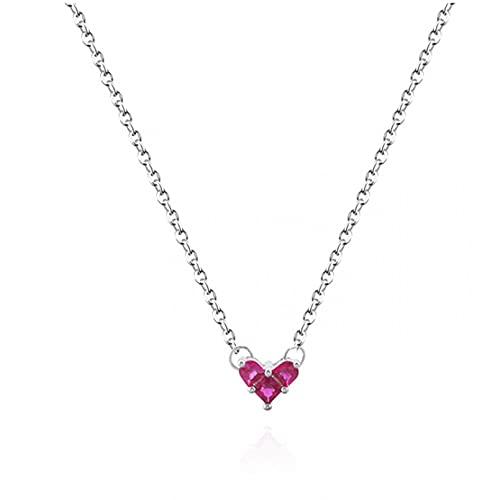 N/A Collar Japón Lindo Mini Rubí Amor Collar De Clavícula Corto Pendientes Pulsera Mujeres Regalo del Día De San Valentín Regalo del Día De La Madre