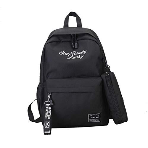 School bags teenager girls travel backpack children 2 pieces/set backpack school bag sac infantil backpacks large capacity, black (Black) - RS190812