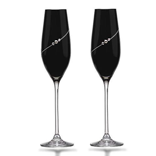 Matrivo 2 unidades de copas de champán con tres cristales de Swarovski y un grabado hecho a mano  en una exclusiva caja
