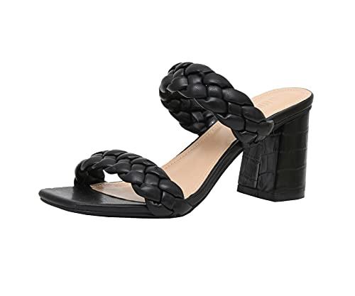 Dunes Women's Iris braided Heel Sandal +Memory Foam Insoles, Black 8.5