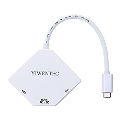 USB-C Multiport Adapter,YIWENTEC USB-C Type C 3.1(Thunderbolt 3 Compatible) To HDMI DVI VGA 4K Cable Adapter Converter (White)