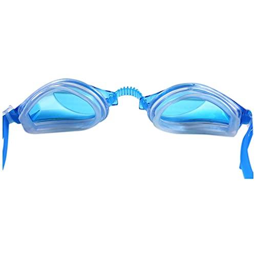 WFSH Gafas de Moda Hombres Y Mujeres de Anteojos de la Miopía Impermeable Gafas de Baño Espejo Antivaho Ajustable Playa Anti-Uv Piscina la Refracción Del Agua Piscina/Azul/opcs