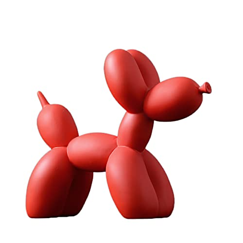 NgFTG Perro Globo Escultura,Escritorio Decoración Moderno Figurilla,Cerámica Perro Estatua,Animal Figura De Arte para La Sala De Estar Dormitorio-Rojo 23x8x19cm(9x3x7inch)