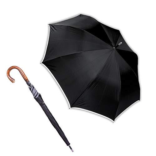 Sicherheitsschirm | Security Selbstschutz Regenschirm | Unzerbrechlicher Stab | Edelstahl Stoßspitze | Wunderschöner Rundhakengriff Edelkastanie | 80cm Lang | Für Männer, Frauen und Senioren