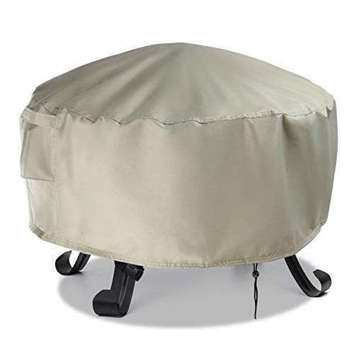 Aidetech Gas Fire Pit Cover Round 30 Inch, 600D Heavy Duty PVC Waterproof Windproof Fire Pit Table Cover for Firepit Furniture, Beige