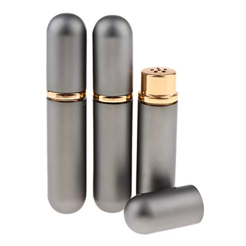 IPOTCH 3x5ml Bouteilles de Parfum en Verre et Métal Fioles Vides Pompe Vide Pulvérisateur Atomiseur Parfum Rechargeable Vide - Gris