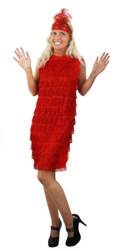 I LOVE FANCY DRESS LTD Robe Rouge Adulte Charleston à Franges sur Le Devant Uniquement Style années 20 avec Son Bandeau à Plume et à Paillettes. Ideal pour Les enterrements de Vie de Jeune Fille.