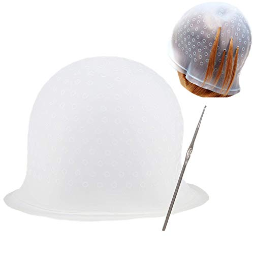 Yebeauty Highlight Cap, Silicone Cap for Highlighting Hair Professional Hair Highlight Dyeing Cap with Hook