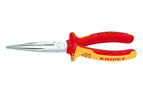 KNIPEX 26 16 200 Alicate de montaje (alicate de boca cigüeña) cromado aislados con...