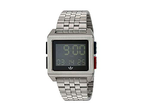 adidas Originals Watches Archive_M1. Men's 70's Style Stainless Steel Digital Watch with 5 Link Bracelet (36 mm) - Silver/Black/Blue/Red