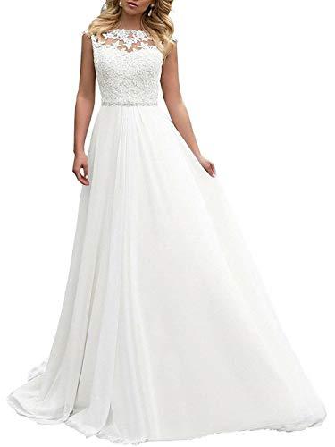 Brautkleid Lang Hochzeitskleider Damen Brautmode Spitze Chiffon A Linie Rückenfrei Weiß EUR38