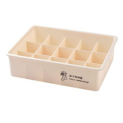 Caja de almacenamiento, compartimento de la caja de almacenamiento de ropa interior para ropa interior sujetador calcetines caja de almacenamiento de acabado de plástico apilable para el hogar