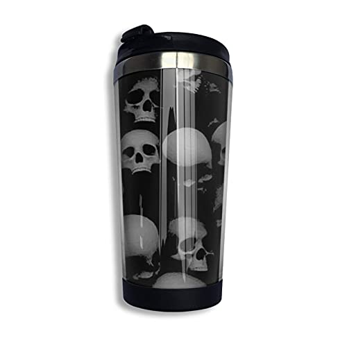 Taza de café de acero inoxidable con tapa, cabeza de calaveras grises y negras, vaso de viaje portátil, taza de café con aislamiento al vacío
