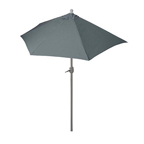 Mendler Sonnenschirm halbrund Parla, Halbschirm Balkonschirm, UV 50+ Polyester/Stahl 3kg ~ 300cm anthrazit ohne Ständer
