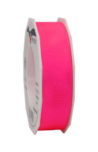 C.E. Pattberg NEON DREAM Band mit Drahtkante hot pink, 20 m Schleifenband für bunte Präsente, 25 mm Breite, für knallige Geschenkverpackungen, Dekorationen & Applikationen