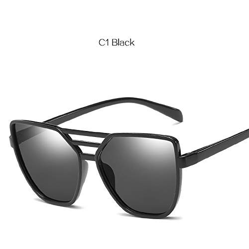ZHAS High-End-Brillen Sonnenbrillen Frauen Shades Sonnenbrillen Damen Farbfilm Reflektierende Brillen Weibliche Retro Kunststoff-Brillen Personalisierte High-End-Sonnenbrillen Schwarz
