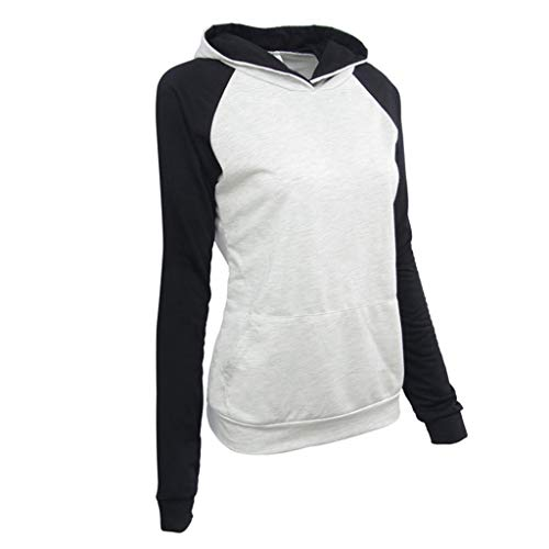 Best Price Women's Hooded Sweatshirt Color Block Raglan Shirt Long Sleeve Pullover Sweatshirt Tops B...