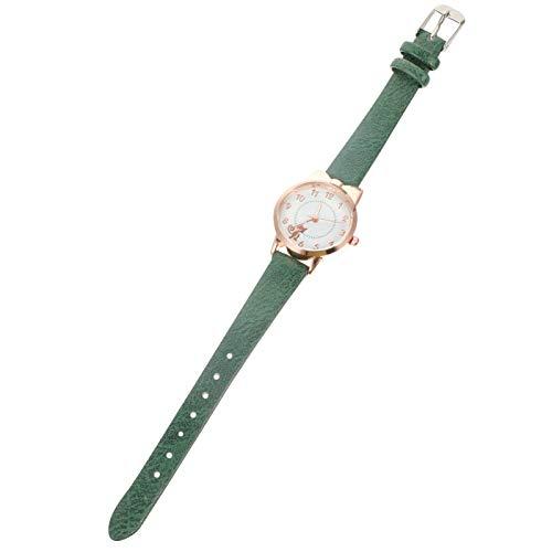 ibasenice Leuchtende Quarzuhr Kinder Cartoon Uhren Junge Mädchen Armbanduhr Analoge Elastische Lederarmband Modische Uhr Spaß (Grün)