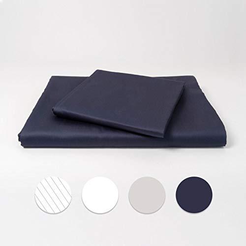 cloudlinen Bettwäsche Set aus 100{5582471c135fdcf706d6ec1c5a137352e383d7a0821c60f84b3232ac74ca4bde} Extra-Langstapeliger Premium Baumwolle - 155x220 cm (Bettbezug) + 80x80 cm (Kissen) - blau einfarbig/unifarben - kuscheliger, Warmer und weicher Mako Satin