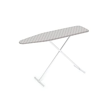 HOMZ T-Leg Steel Top Ironing Board with Foam Pad, Grey Pattern Cover