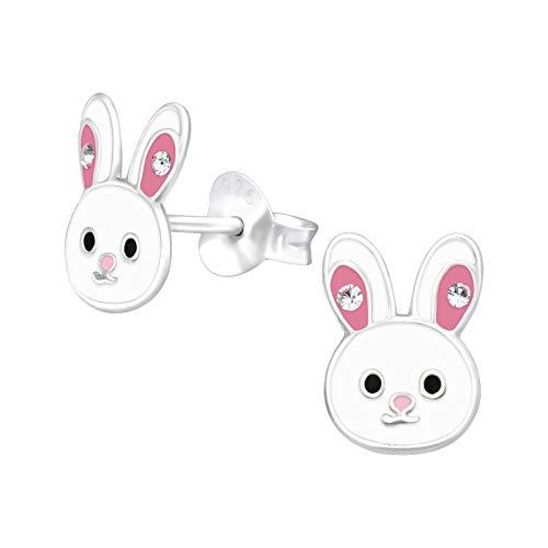 Laimons Pendientes infantiles con diseño de conejo, color blanco con purpurina, 9 x 7 mm, plata de ley 925