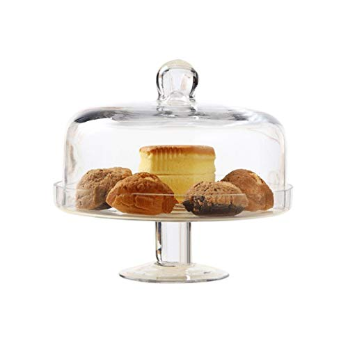 CSQ Plates Creative Home Furnishings, Glass Cake Dome Tray High Foot Dustproof Tray Cheese Dome Cover Food Holder Large Containers Cake Storage Lightweight (Size : 23 * 22cm)