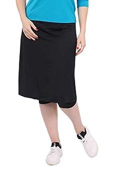 Kosher Casual Women s Modest Knee Length Sports Skirt with Leggings Medium Black